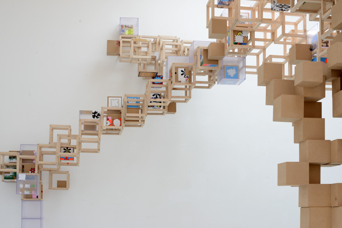 Never Comes Tomorrow 2015   Installation View   Steel, ABS, wood, vinyl stickers