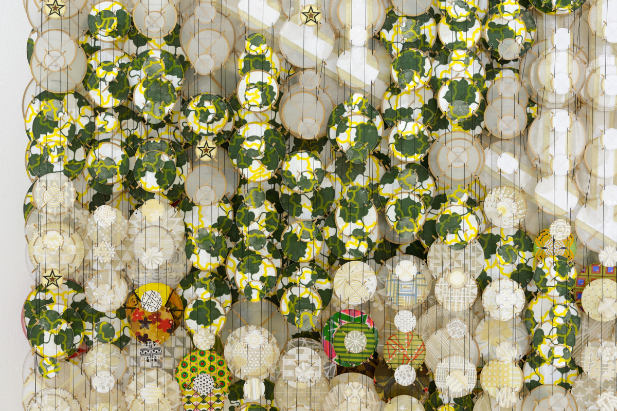 "Passing Through, 2015   Paper, bamboo, acrylic, Dacron   53"" x 47"" x 8""   (detail)"