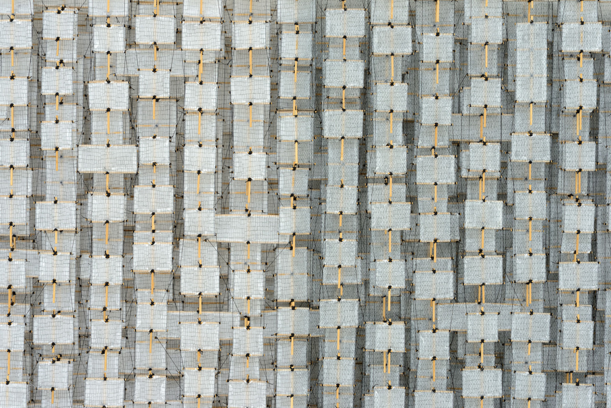 """More About Perception and Conciousness, 2015   Paper, bamboo, acrylic, Dacron   48"""" x 96"""" x 8""""   (detail)"""