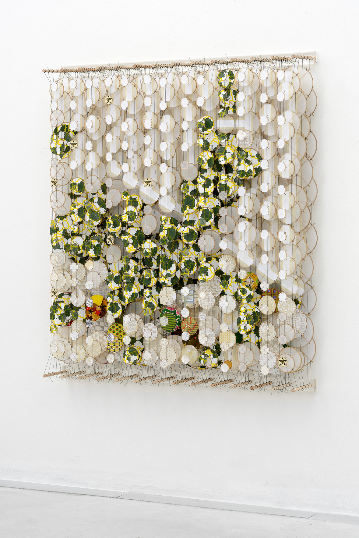 "Passing Through, 2015   Paper, bamboo, acrylic, Dacron   53"" x 47"" x 8""   (Three quarters view)"