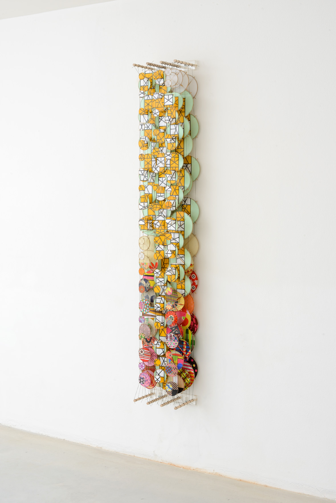 """The Immeasurable Equation, 2015    Paper, bamboo, acrylic, Dacron   72"""" x 11"""" x 8""""   (Three quarters view)"""