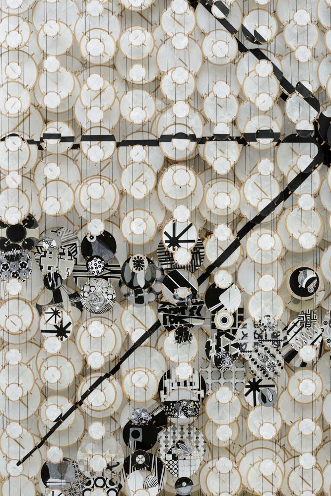"Neutron Star , 2015   Paper, wood, acrylic, bamboo, and Dacron   66"" x 60"" x 8""   (detail)"