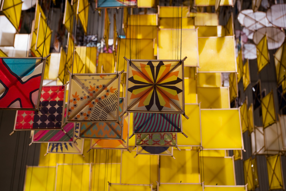 """The Augmented Cube and the Unexpected Jaggedness of Ideal Order, 2016       bamboo, UV ink print, paper, resin, Spectra, steel, and aluminium      120"""" x 84"""" x 84""""     (detail)"""