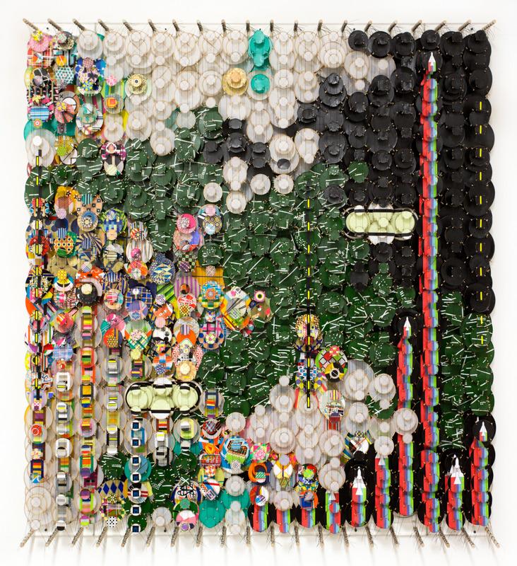 "Beyond the Zero   , 2016     paper, bamboo, acrylic, wood, and Dacron     78"" x 72"" x 8.25"""