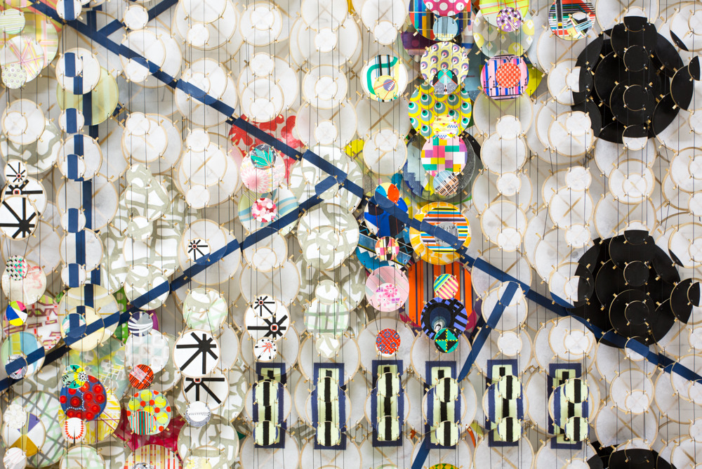 """The First Known Map of the Moon , 2016   paper, bamboo, acrylic, wood, and Dacron   84"""" x 77"""" x 8""""   (detail)"""