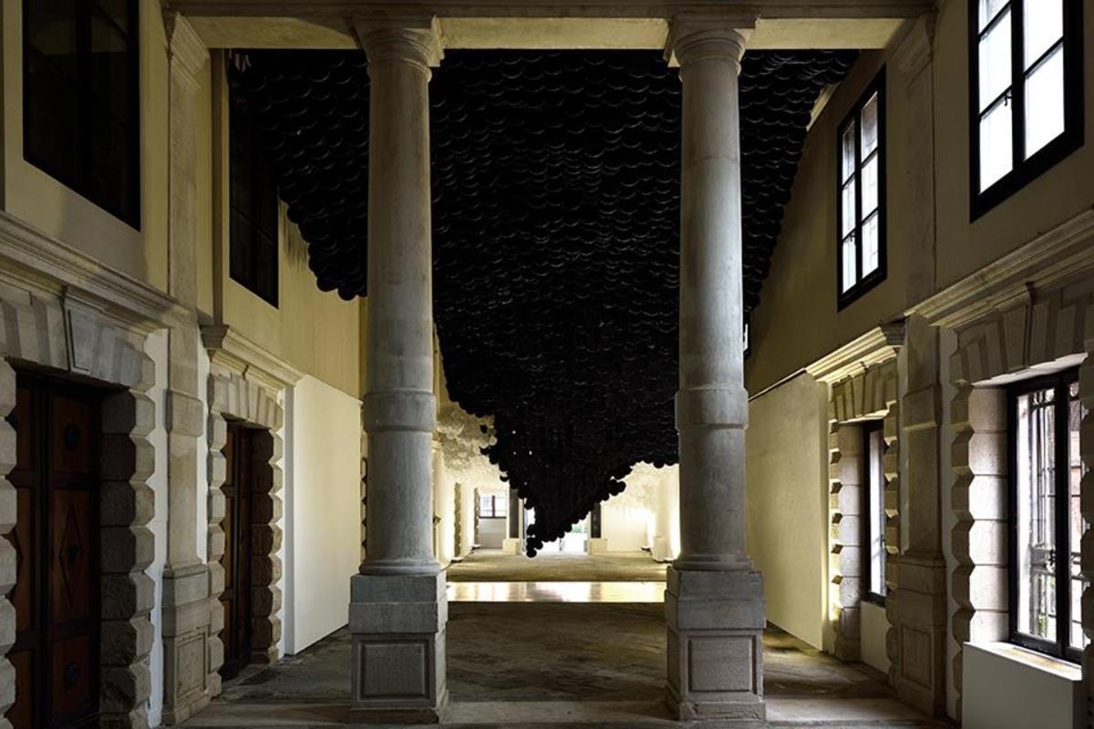 The Eclipse , 2017   paper, bamboo, acrylic, wood, ink, and Dacron   dimensions variable   Photo by Michele Alberto Sereni. Courtesy Studio la Città - Verona, Italy.