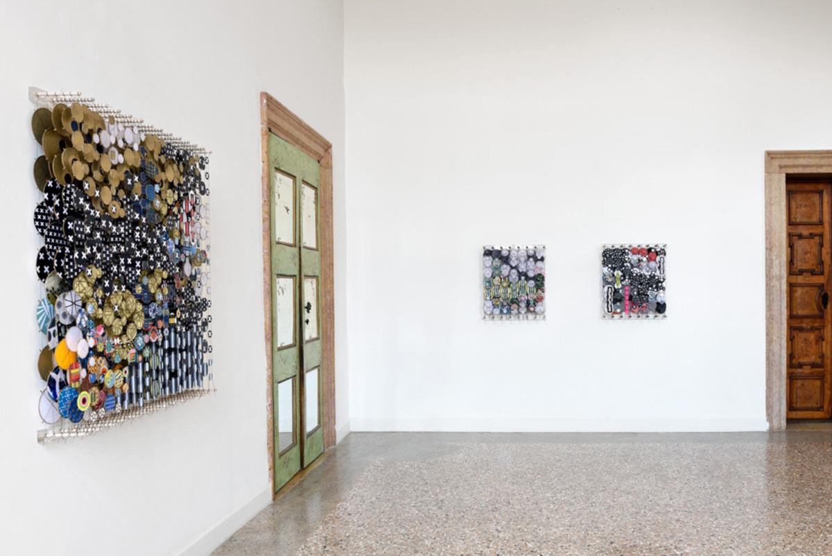 The End of Utopia: Jacob Hashimoto and Emil Lukas, 2017   Installation view   Photo by Michele Alberto Sereni. Courtesy Studio la Città - Verona, Italy.