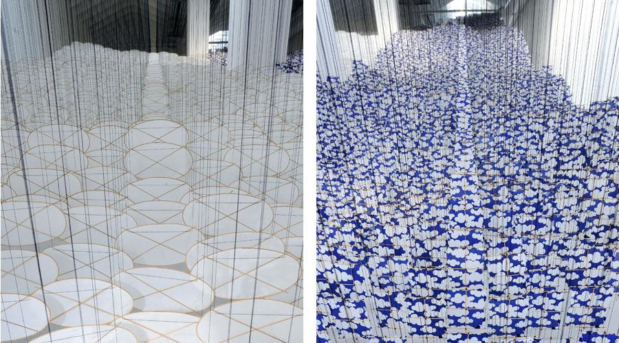 Infinite Expanse of Sky / Superabundant Atmosphere 2008-2009   Installation View   Vellum, silk, bamboo, wire, wood
