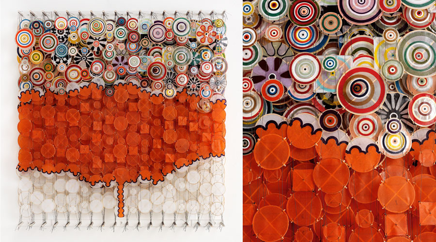 "Redshroom , 2009   64"" x 60"" x 8""   Paper, bamboo, acrylic, Dacron"