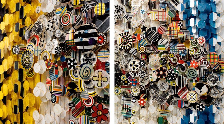 "Superliner , 2009   65"" x 155"" x 8""   Paper, bamboo, acrylic, Dacron"