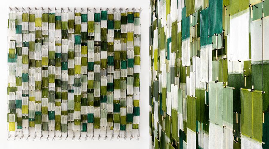 "Field of Green Blocks , 2009   60"" x 45"" x 8""   Paper, bamboo, acrylic, Dacron"