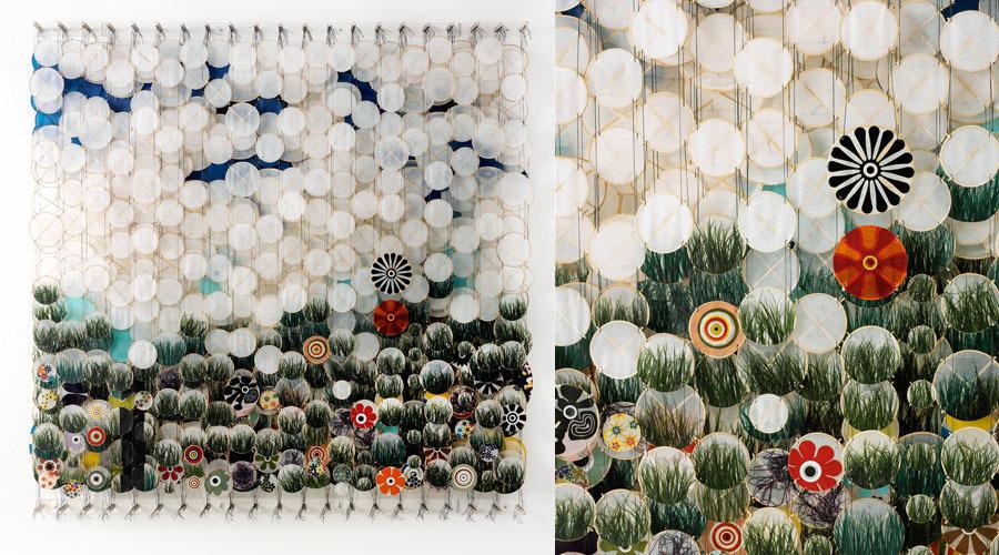 "Grassscape,  2009   72"" x 71"" x 8""   Paper, bamboo, acrylic, Dacron"