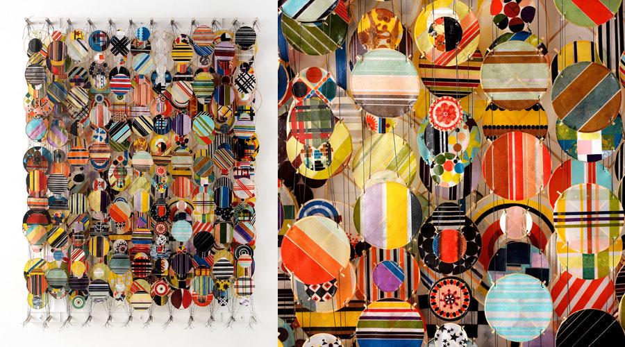 "Hodge Podge,  2009     60"" x 45"" x 8""   Paper, bamboo, acrylic, Dacron"