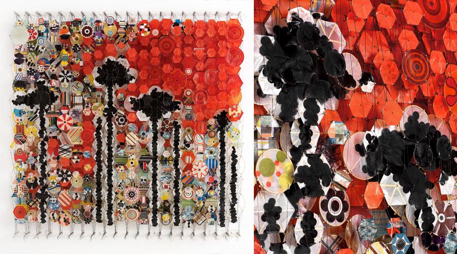"Velocity of Desire,  2009   72""x 71"" x 8""   Paper, bamboo, acrylic, Dacron"