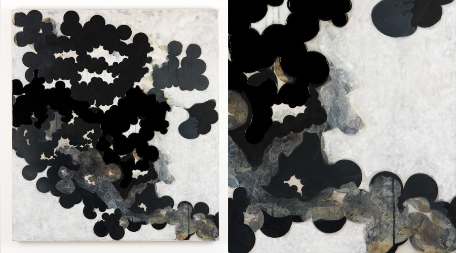 """Vapers and Night Skies,  2009   45"""" x 40"""" x 2""""   Paper, acrylic, urethane on linen"""