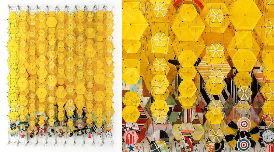 "Descending Yellow Halo,  2009      60"" x 45"" x 8""     Paper, bamboo, acrylic, Dacron"