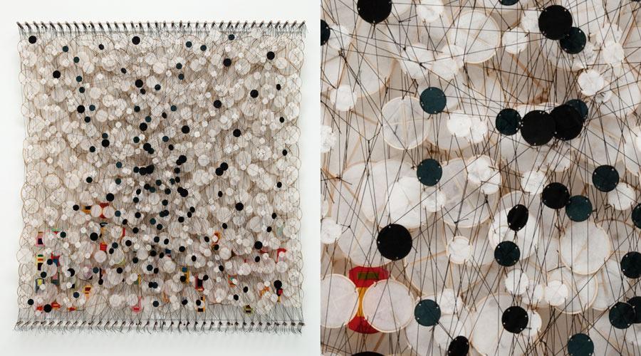 "On a Pitch Black Lake , 2009   Paper, bamboo, acrylic, Dacron   76"" x 71"" x 8"""