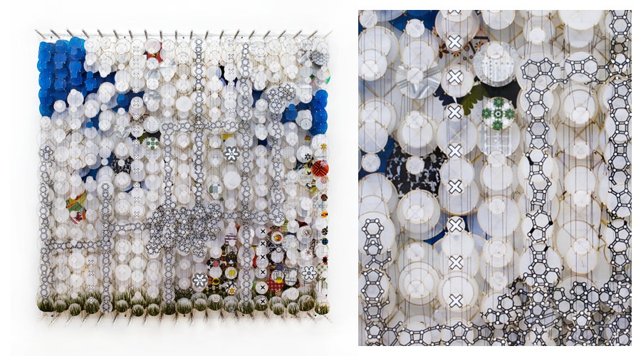 """Pure Reason Almost Untainted, White Light, Etcetera , 2011   Paper, bamboo, acrylic, Dacron   72"""" x 72"""" x 8"""""""