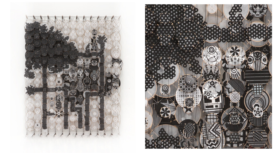 "Something of Stellar Influences (The Inhibitors) , 2011   Paper, bamboo, acrylic, Dacron   60"" x 48"" x 8"""