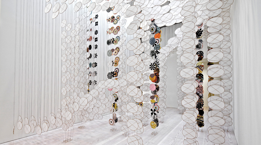 Silence Still Governs Our Consciousness 2011   Installation View   Paper, bamboo, Dacron