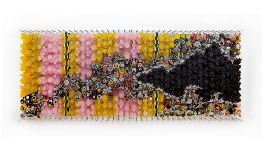 """The Air Smelled of Subversion and Boundaries All Glitter with Bright,  2011   Paper, bamboo, acrylic, Dacron   60"""" x 144"""" x 8"""""""