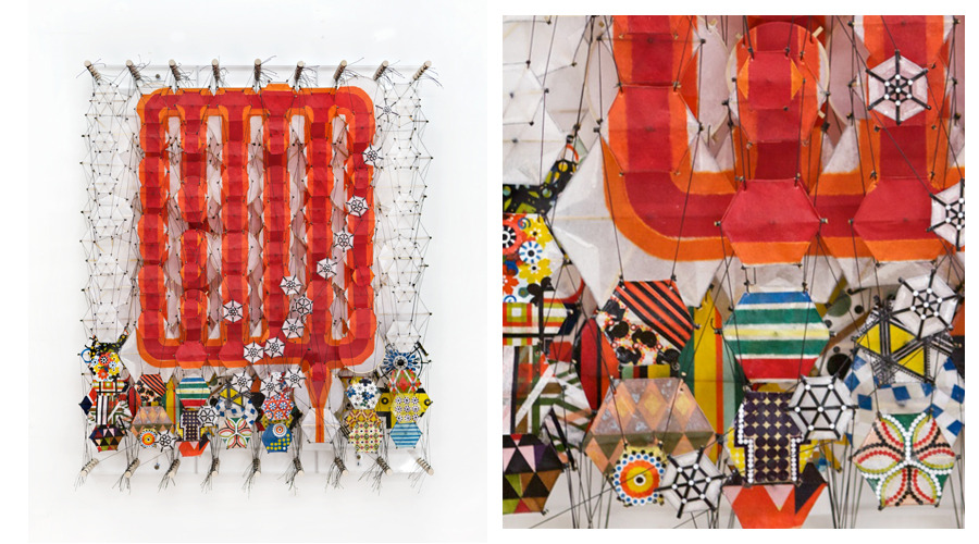 """I Can Build a Wall Around the Broken Loose and Tumbled Down , 2011   Paper, bamboo, acrylic, Dacron   36"""" x 24"""" x 8"""""""