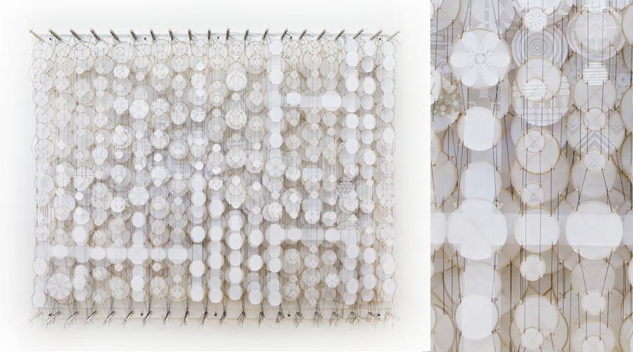 "Into the Vast White Plain , 2011   Paper, bamboo, acrylic, Dacron   57"" x 72"" x 8"""