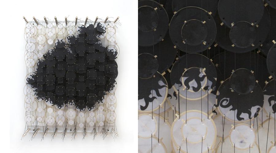 "Quietly Sleeping Eventual Implosions,  2011   Paper, bamboo, acrylic, Dacron   36"" x 28"" x 8"""