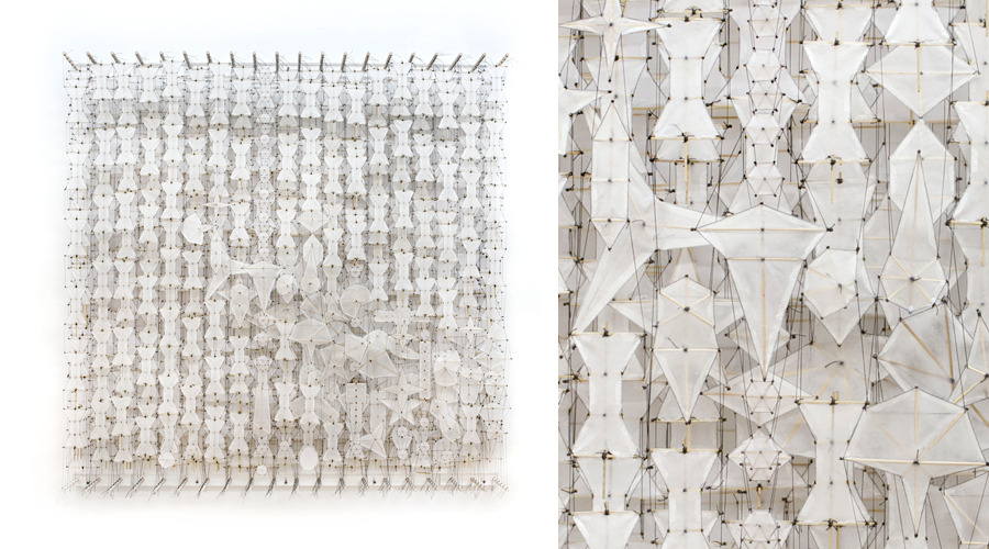 """Idling in the Depths of Memory , 2011    Paper, bamboo, acrylic, Dacron   72"""" x 72"""" x 8"""""""
