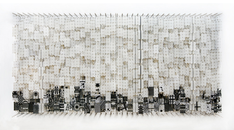 """The Chaos of Architecture, the Invention of Madness , 2011   Paper, bamboo, acrylic, Dacron   72"""" x 142"""" x 8"""""""
