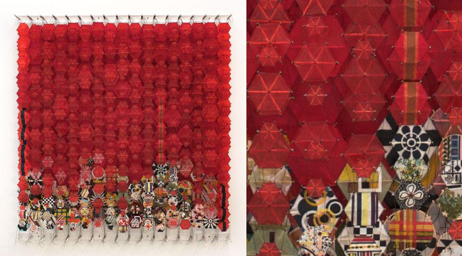 "Overgrown with Osiers , 2009    Paper, bamboo, acrylic, Dacron   74"" x 69"" x 8"""