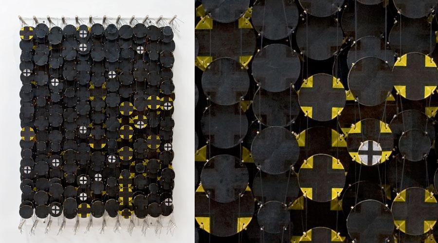 "Uncertain Contours , 2009    Paper, bamboo, acrylic, Dacron   47"" x 34"" x 8"""
