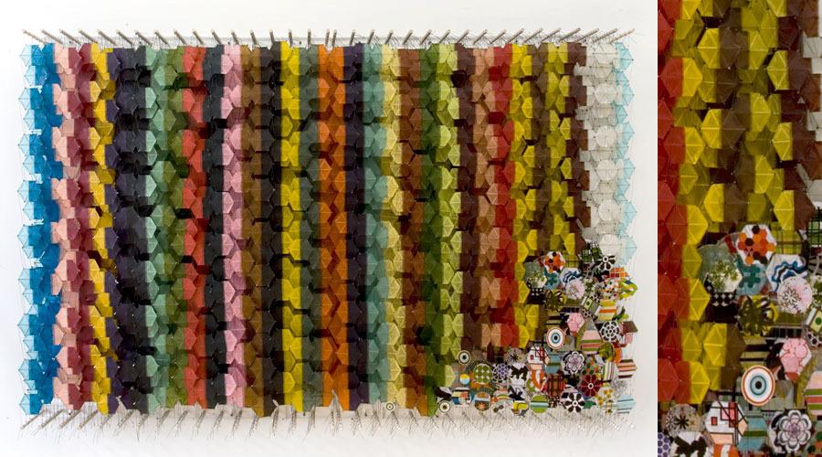 "Secret Decoder Ring , 2009    Paper, bamboo, acrylic, Dacron   62"" x 99"" x 8"""
