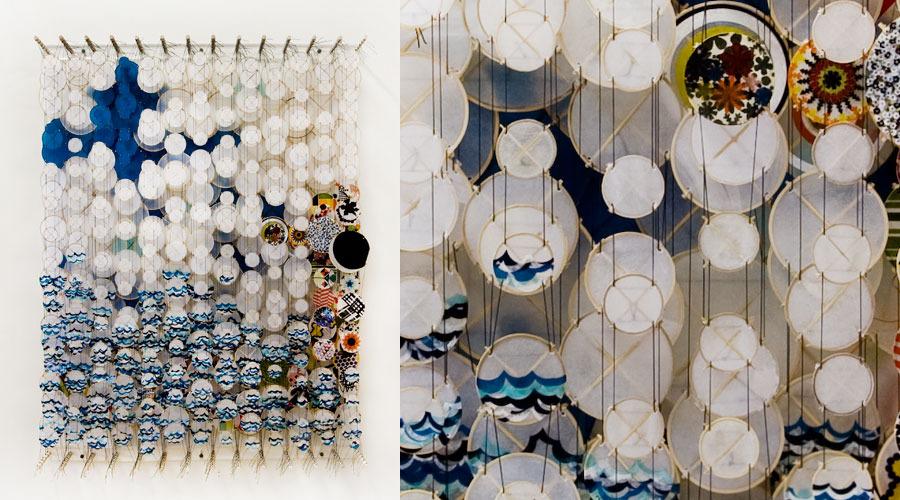 "Slanting,  2009   Paper, bamboo, acrylic, Dacron   62"" x 47"" x 8"""