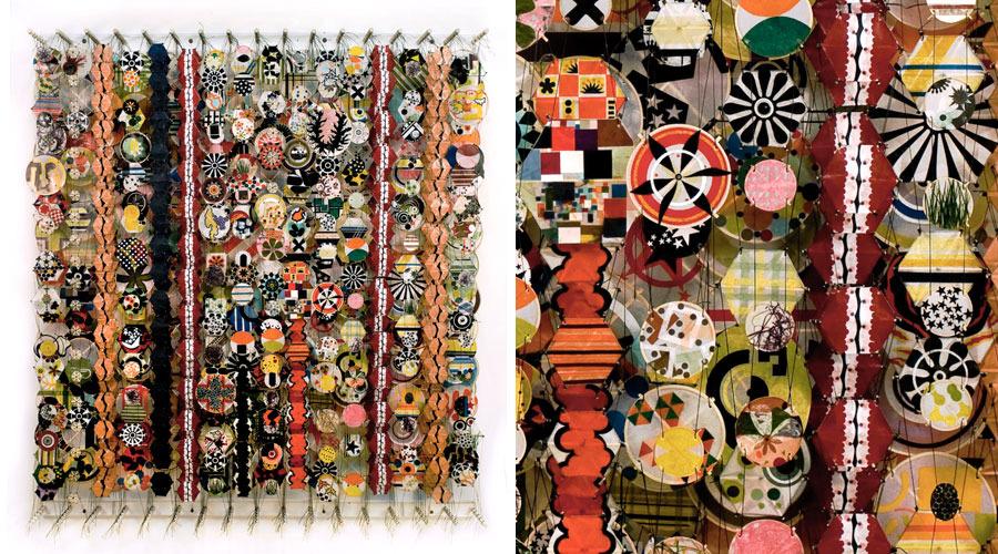 "Awake Under a Huge Starry Sky , 2009    Paper, bamboo, acrylic, Dacron   60"" x 60"" x 8"""