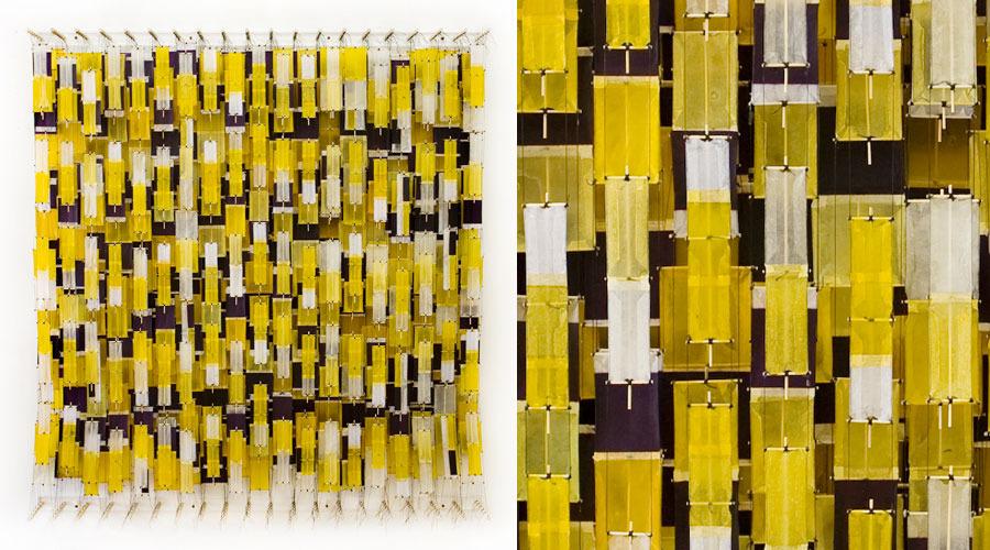 "Yellow, Sometimes Purple, Often White , 2009    Paper, bamboo, acrylic, Dacron   71"" x 68"" x 8"""