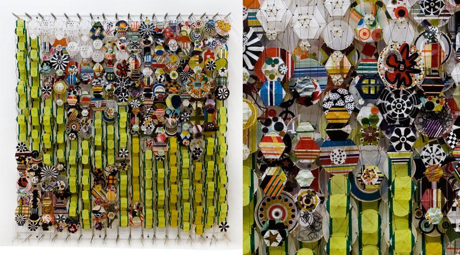 "Cutting Stems in the Oxygen Garden , 2009    Paper, bamboo, acrylic, Dacron   74"" x 69"" x 8"""