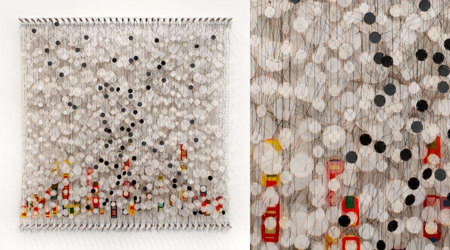 "Circumstances and Coincidences , 2009   Paper, bamboo, acrylic, Dacron   72"" x 71"" x 8"""