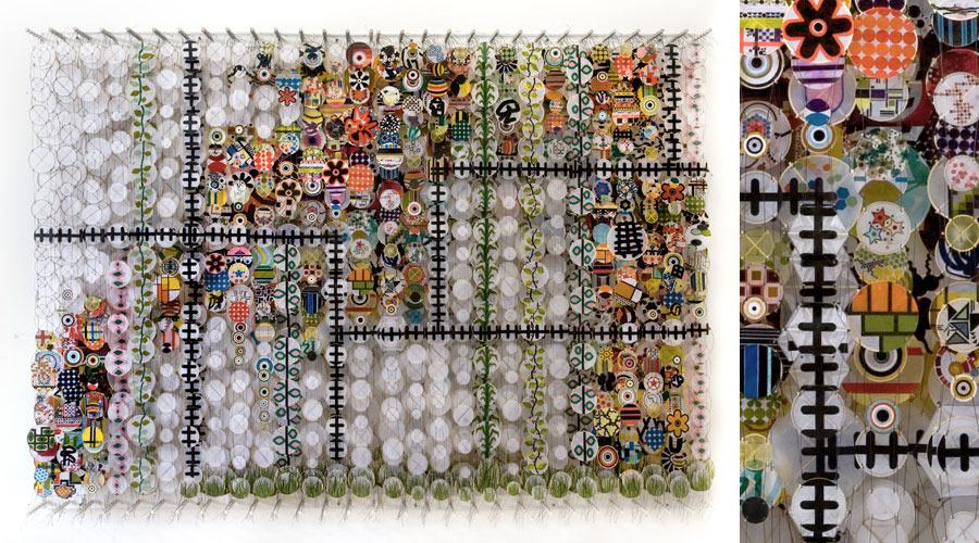 "Fair Weather and Faithful Habits , 2009    Paper, bamboo, acrylic, Dacron   62"" x 99"" x 8"""