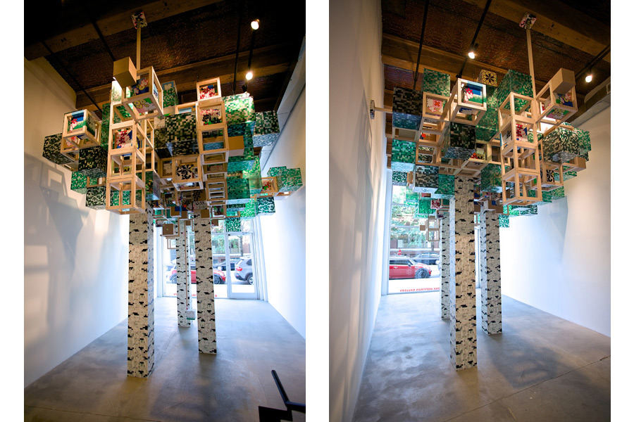 super-elastic collisions and distant derivations 2012   Installation View   MDF, wood, plastic, vinyl stickers