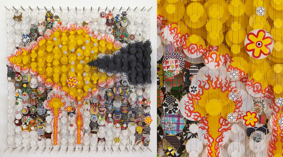 """Wildly Cheering Masses and Blown Kisses, 2011   Paper, bamboo, acrylic, Dacron   72"""" x 72"""" x 8"""""""