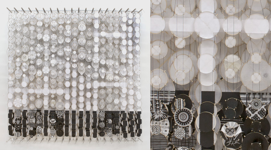 "Twice Into the Vast White Plain , 2011   Paper, bamboo, acrylic, Dacron   72"" x 72"" x 8"""