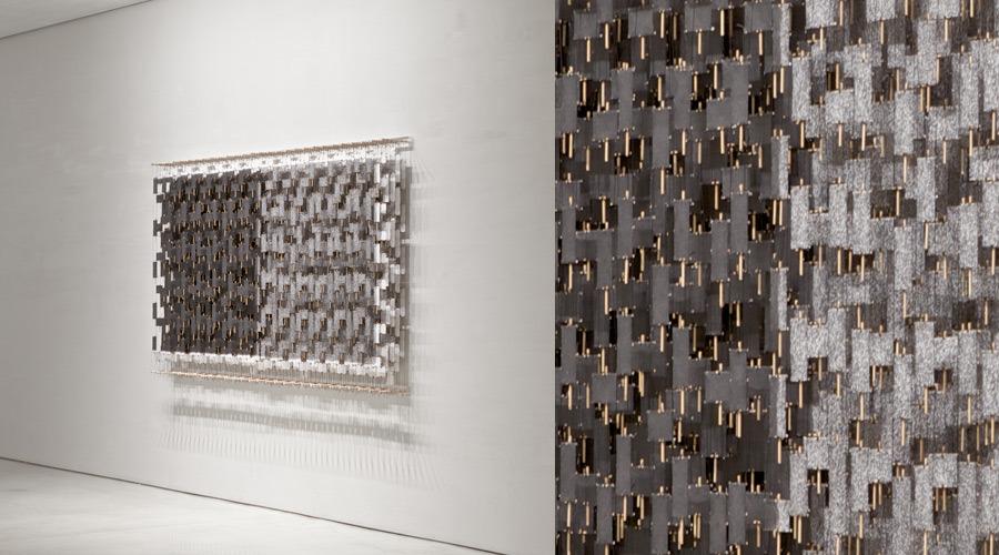 "Consciousness, Confrontation, Cosmization , 2011   Paper, bamboo, acrylic, Dacron   54"" x 96"" x 8""'   (Three quarters view)"