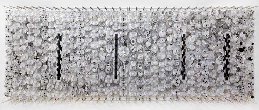 """Some Lost Part of a Delicate Fragrance,  2011   Paper, bamboo, acrylic, Dacron   54"""" x 144"""" x 8"""""""