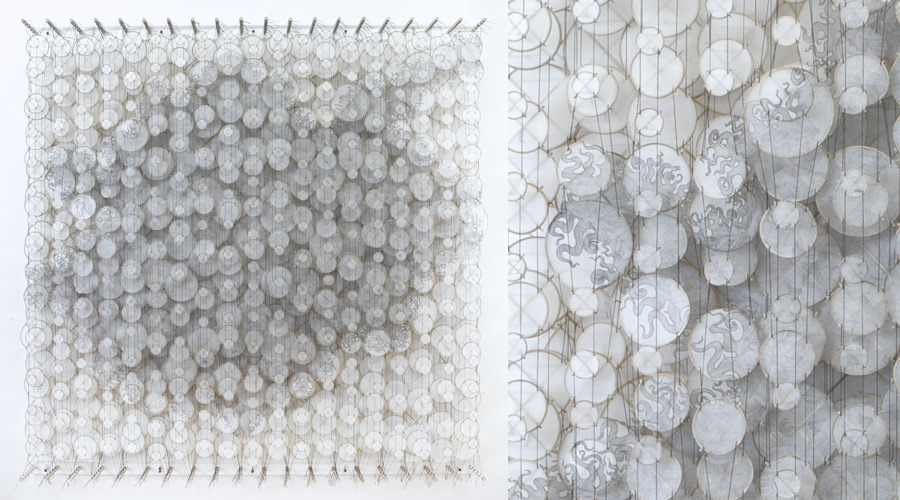 """The End of Gravity , 2011   Paper, bamboo, acrylic, Dacron   72"""" x 72"""" x 8"""""""