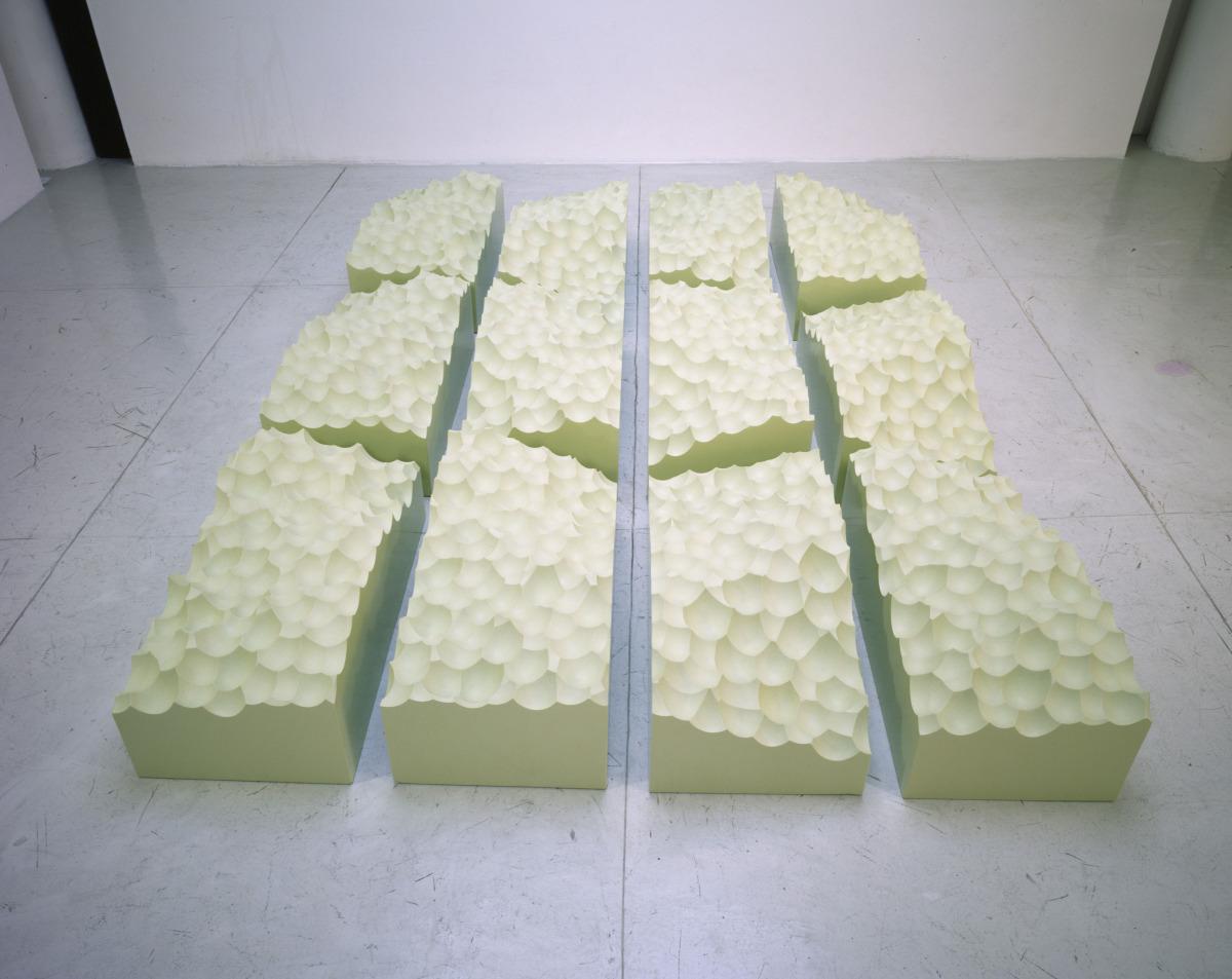 "Personal Flotation Device , 2002   Corafoam RTS, resin, 12 elements   118"" x 79"" x 16.5""   Installation view"