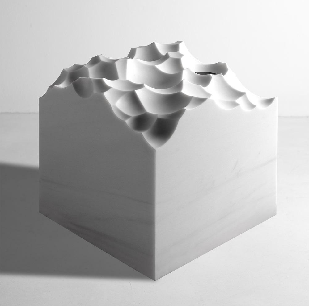 """White Waves , 2005   White Carrara marble   20"""" x 20"""" x 20"""""""