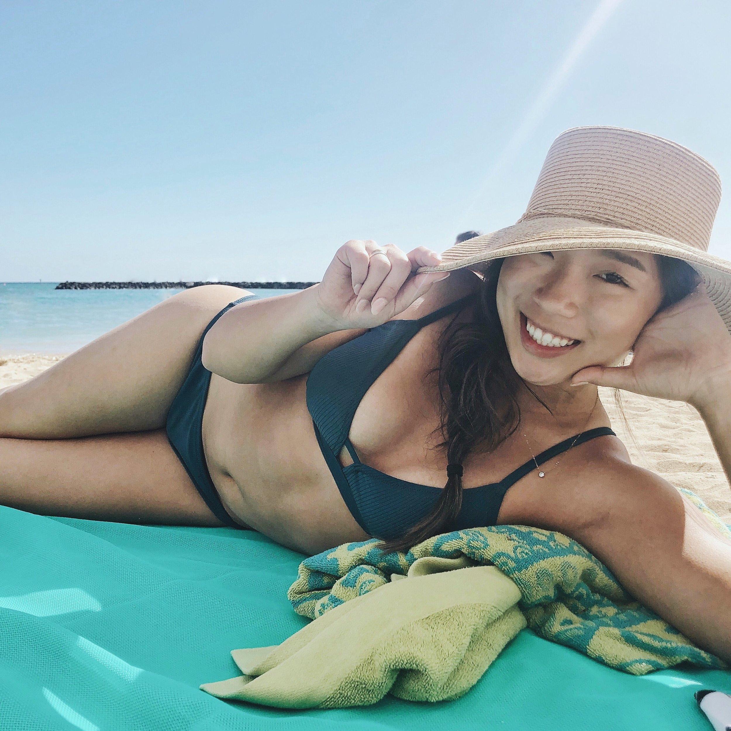 Bikini  |  Sun Hat  |  Necklace  |  Beach Mat