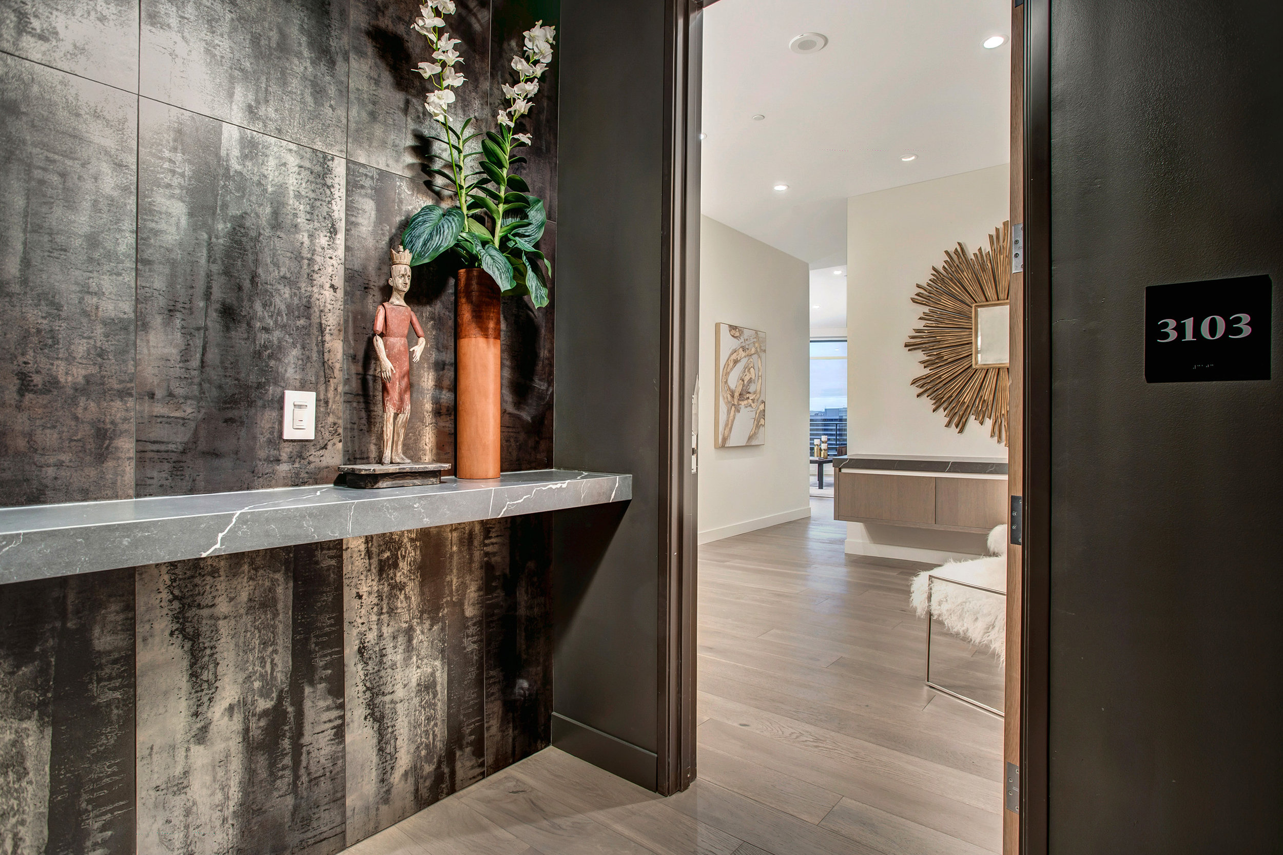 The luxury of a private vestibule to greet you and guests before entering the penthouse.