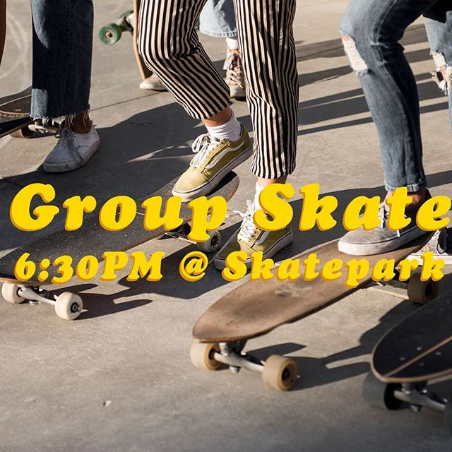 Tonight tonight tonight ! 6:30PM meet in front of the skatepark. You don't need to rip, you don't need to skate bowls or do tricks - ya just need basic kick push and you are golden - we're here to help , laugh , hang and skate with you 🙌🏼🙌🏼 swirl ya later 🌀 // 📸 @bryannabradleyphotography
